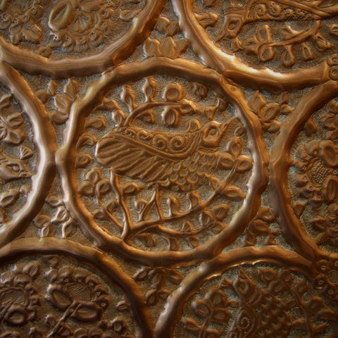 North African Hand-Tooled Copper Tray (LEO Design)