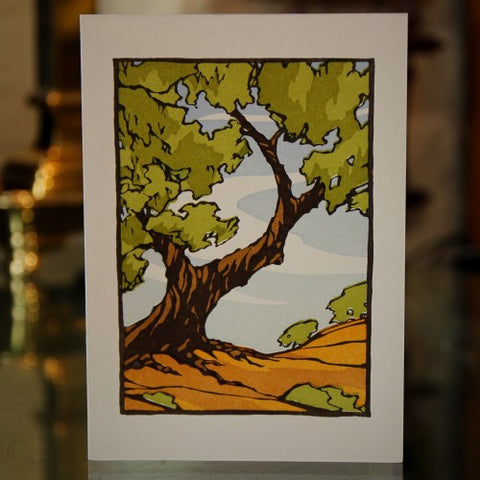 Letterpress Oak Tree Greeting Card (LEO Design)