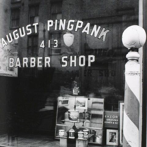August Pingpank Barbers at 413 Bleecker Street by Berenice Abbot