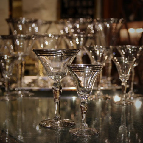 Collection of Platinum Banded Crystal Cocktail Glasses (LEO Design)