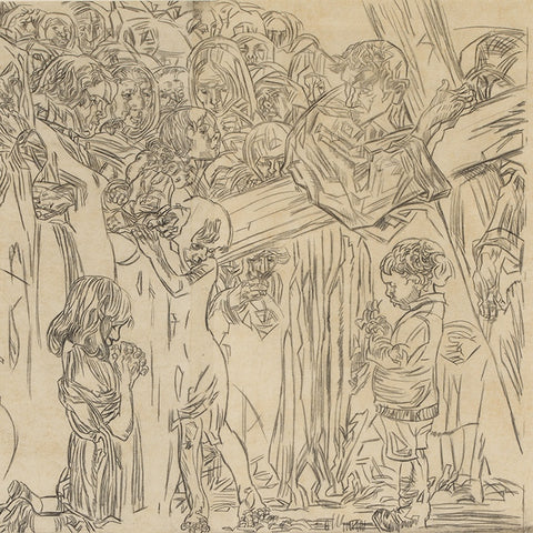 "Frank Brangwyn's Preparatory ""Cartoon"" for His Printed Stations of the Cross Cycle, the Eighth Station (LEO Design)"