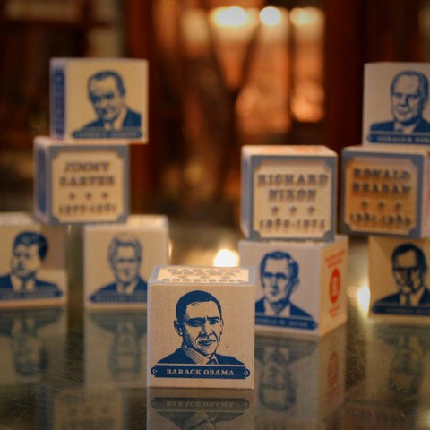 Wooden Presidential Blocks (Washington to Obama) (LEO Design)