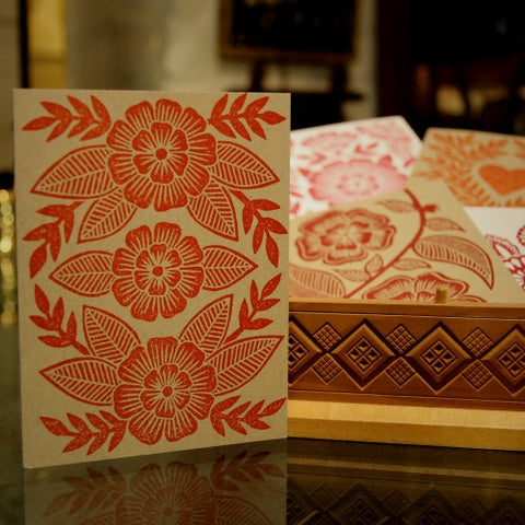 Collection of Red Cut-Linoleum Print Greeting Cards (LEO Design)
