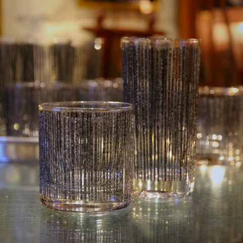 Rocks and Highball Glasses with Textured Graphite Decoration (LEO Design)