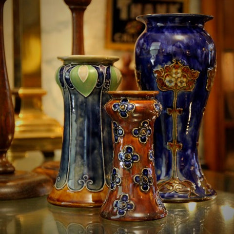 Collection of English Arts & Crafts Vases by Royal Doulton (LEO Design)