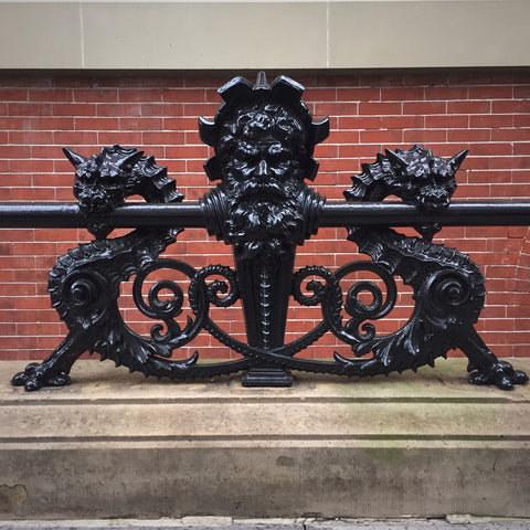 Sculpted Cast Iron Railing Balusters on the Dakota Apartment Building on Central Park West, New York City (LEO Design)