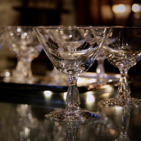Set of Crystal Cocktail Glasses with Hand-Etched Pine Decoration (LEO Design)