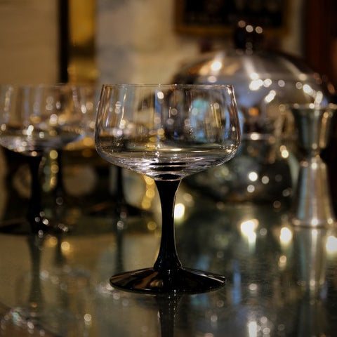 Set of Fostoria Champagne Coupes with Bladk Stems and Feet (LEO Design)