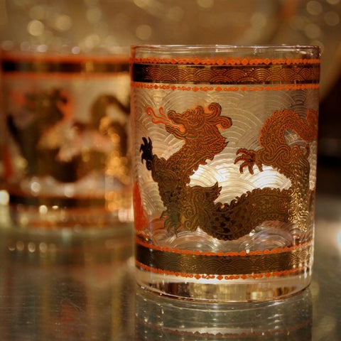 Golden Dragon Double Old Fashioned Rocks Glasses (LEO Design)