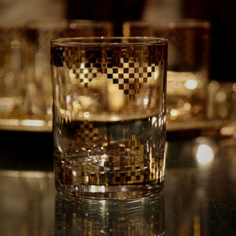Double Old Fashioned Rocks Glasses with Gold Embellishment (LEO Design)