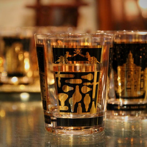 Set of Six General Electric Double Old Fashioned Rocks Glasses with Gold Trim (LEO Design)