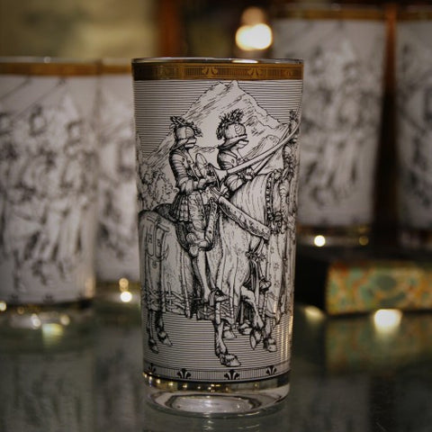 Mid-Century Highball Glasses Decorated with Durer Prints and Gold Trim (LEO Design)