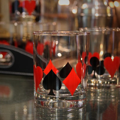 "Set of ""Poker Night"" Double Old Fashioned Rocks Glasses (LEO Design)"