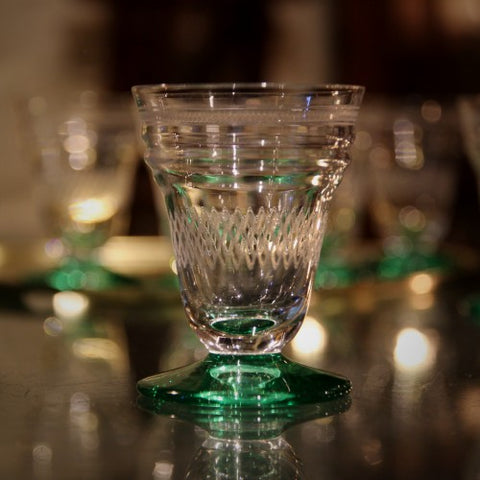 Set of French Art Deco Cocktail Glasses with Emerald Green Feet (LEO Design)