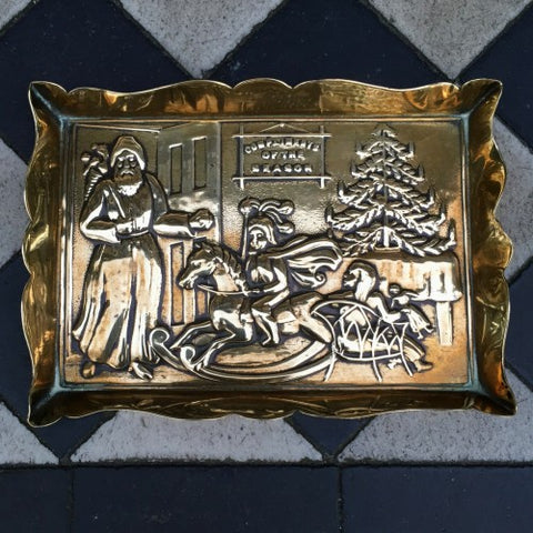 "Edwardian English Brass ""Father Christmas"" Pin Tray (LEO Design)"