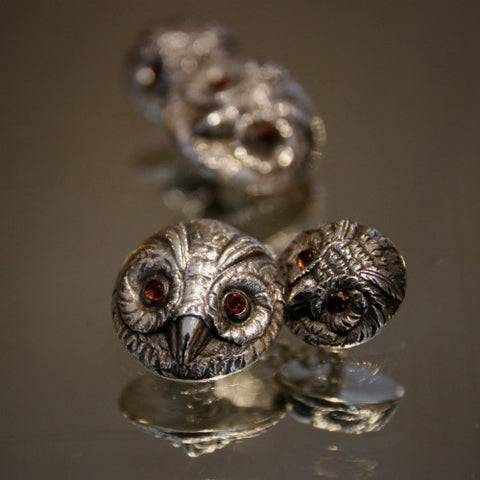 Sterling Silver Owl Face Cufflinks with Amethyst Eyes (LEO Design)