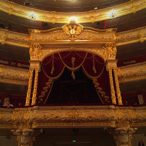 "The ""Royal Box"" in the Gilded Interior of the Bolshoi Theatre, Moscow (LEO Design)"