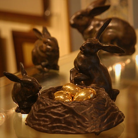 Verdigris Bunnies and Bronze Nest (LEO Design)