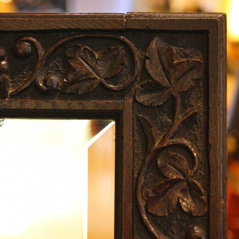 English Arts & Crafts Bevelled Mirror with Hand-Carved Jacobean Styling (LEO Design)