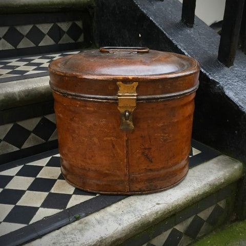 Victorian English Painted Steel Hat Box (LEO Design)