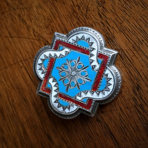Victorian English Enameled Silver Brooch (LEO Design)