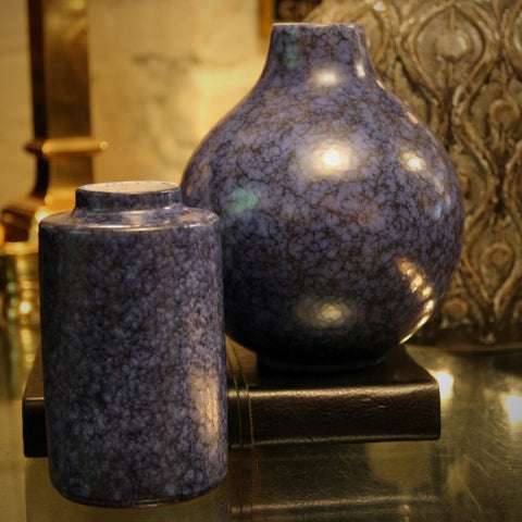 Wächtersbach Mottled Blue and Black Vases (LEO Design)