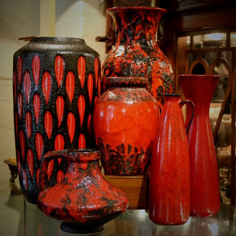Collection of Red West German Ceramics (LEO Design)