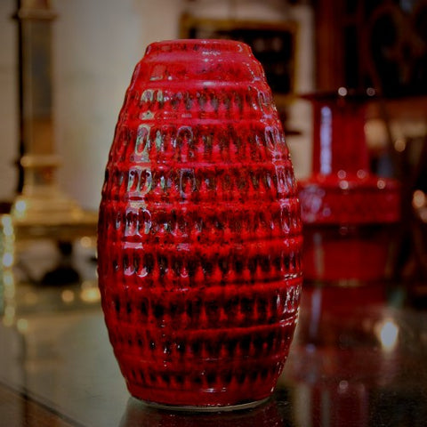 Jasba West German Red Vase with Impressed Texturing (LEO Design)