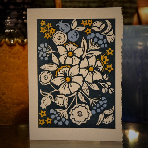Linoprint Greeting Card - Spring Flowers (LEO Design)