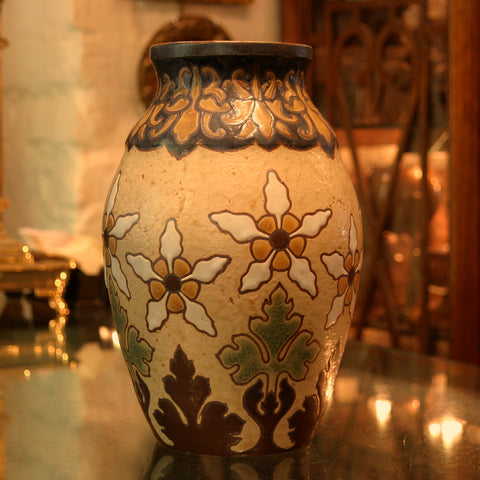 Revernay French Art Nouveau Vase with Incised and Painted Dandelions (LEO Design)