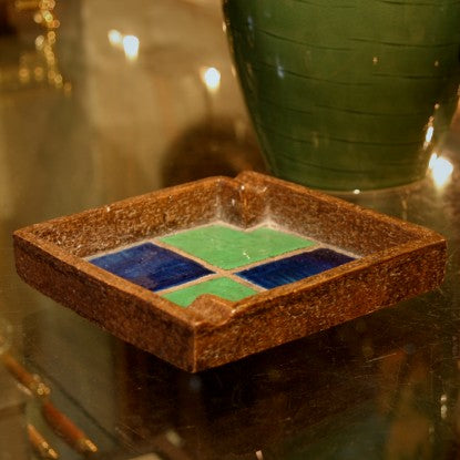 "Italian Ceramic Ashtray with ""Arlequino"" Glazing"