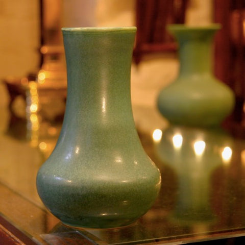 Fulper Matte Green Vase with Bulbous Base and Tapering Neck (LEO Design)