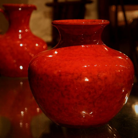 Italian Modernist Red Globe-Form Vase (LEO Design)