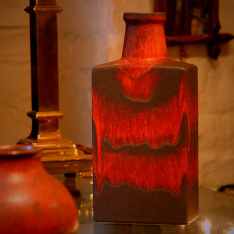 Scheurich West German Flask-Form Vase with Dripping Red and Chocolate Glazing (LEO Design)