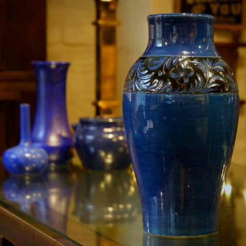 Raymor Italian Blue Incised Vase (LEO Design)