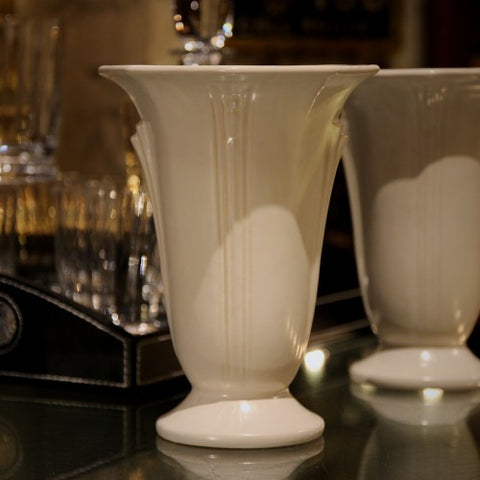 Roseville White Art Deco Vase (LEO Design)