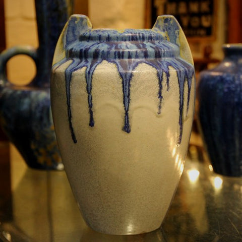 Pierrefonds French Art Deco Vase with Dripping Blue Glaze (LEO Design)