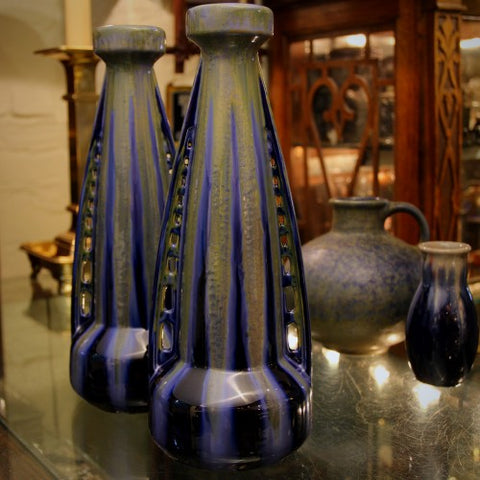 "Pair of French Art Nouveau ""Rocketship"" Vases by Gustave de Bruyn (LEO Design)"