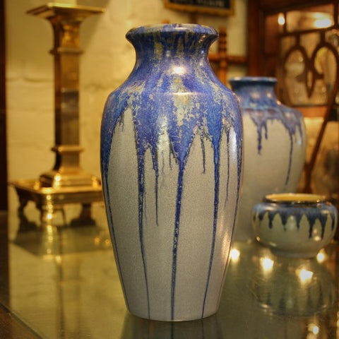 Pierrefonds French Art Nouveau Vase with Dripping Blue Glazing (LEO Design)
