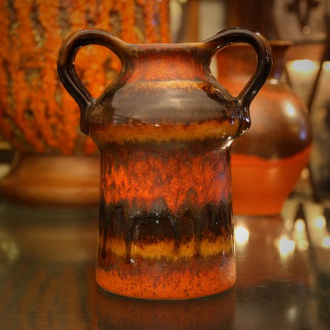 Carstens Modernist Vase with Orange, Brown and Copper Dust Glazing (LEO Design)