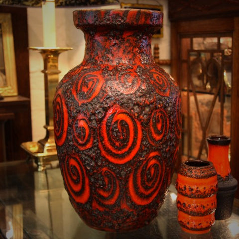 West German Floor Vase with Swirling Finger-Painted Decoration (LEO Design)