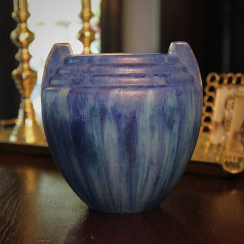 Pierrefonds French Art Deco Stepped Vase with Dripping Blues Glazing (LEO Design)