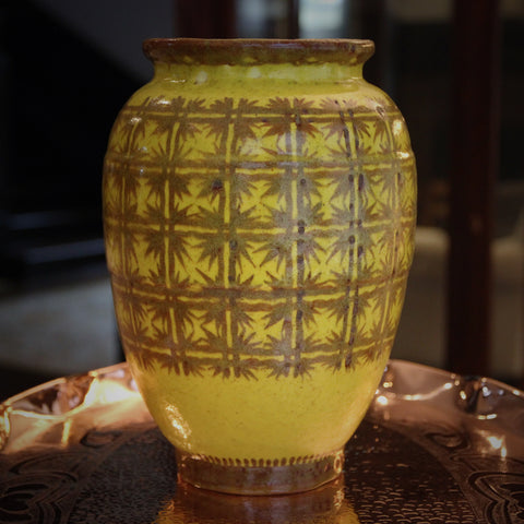 "Lachanal French ""Piece Unique"" Lemon Yellow Vase with Butterscotch Gridwork (LEO Design)"
