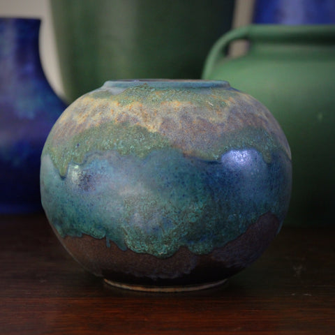 Ruscha West German Rosebowl with Organic Blue, Green and Purple Glazes by Otto Gerharz (LEO Design)