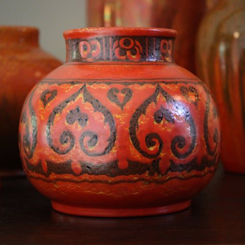 English Arts & Crafts Vase with Hand-Painted Palmettes by Pilkington Royal Lancastrian (LEO Design)