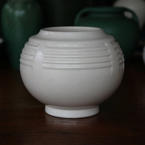 Roseville Matte White Art Deco Rosebowl with Futuristic Ribbing