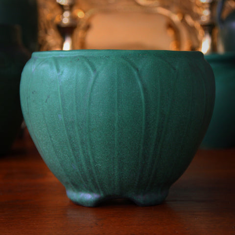 Weller Arts & Crafts Matte Green Jardiniere with Lotus Leaf Bas Relief (LEO Design)