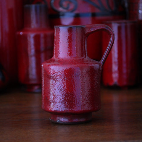 Hoy Hey Heavy German Modernist Redware Pitcher with Heavy Cherry Red Glazing (LEO Design)