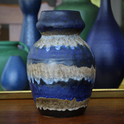 Ruscha Corseted Vase with Dripping Bands of Blue, Black and Tan Glazing by Otto Gerharz (LEO Design)