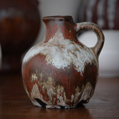 Ruscha West German Modernist Pitcher with Rust and Cloudy White Glazing by Otto Gerharz (LEO Design)